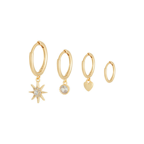 YEHWANG Earrings Set Sparkle Away Gold