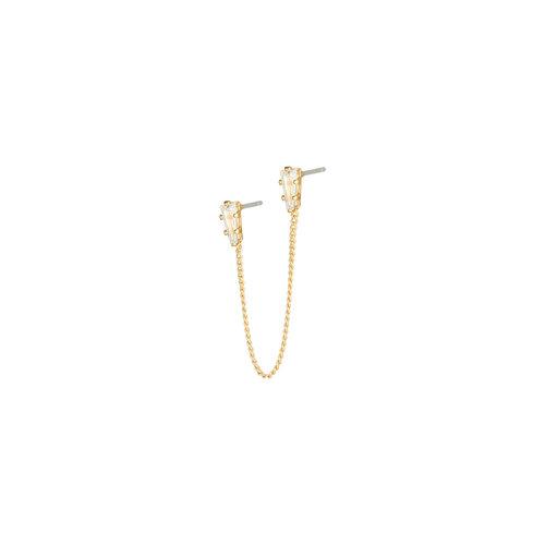 YEHWANG Earrings Double Zircon Gold