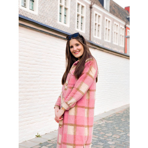 BELLAVIE Long Checkered Jacket Old Rose