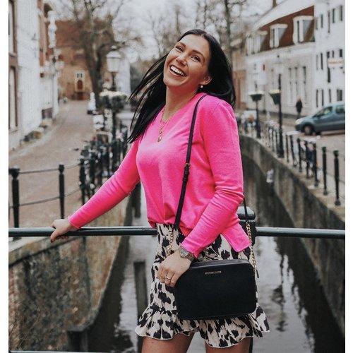 BY CLARA Leopard Print Wrap Skirt Ecru