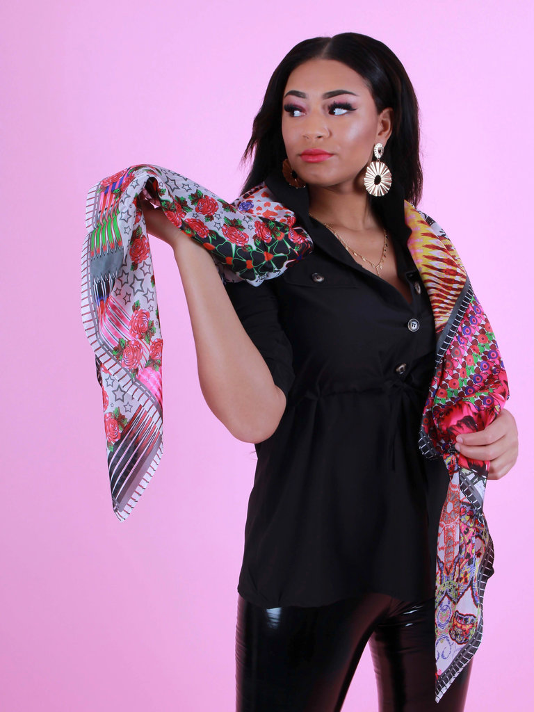 ROMANO Square Design Silk Scarve Khaki