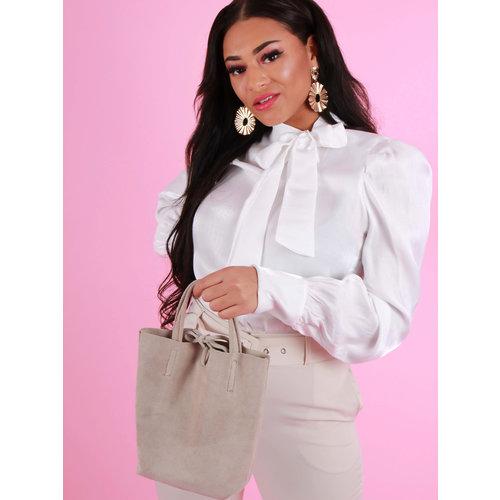 TEATRO Suede - Small Shoulder Bag - Beige
