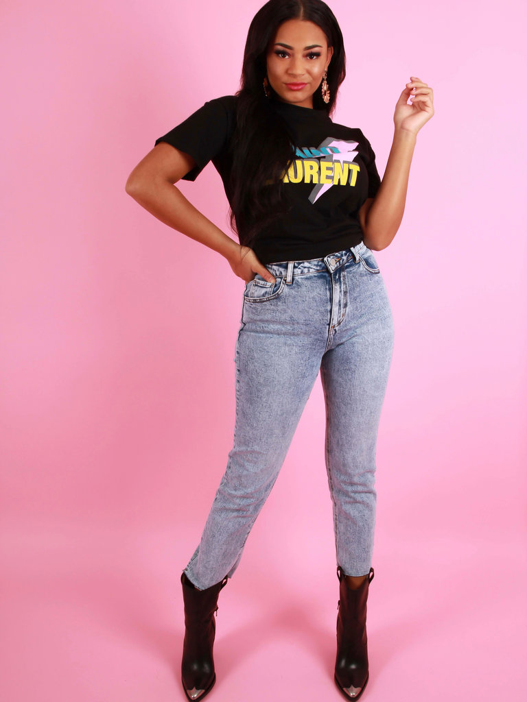 QUEEN HEARTS Vintage Wash Mom Jeans Straight Fit