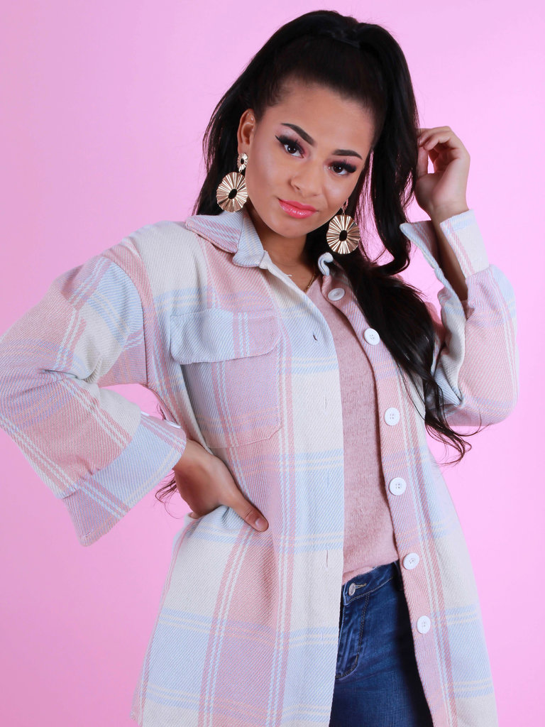 NEW COLLECTION Geruite Blouse Pastel