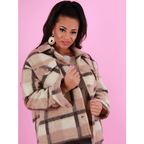SENS UNIQ Checkered Jacket Beige