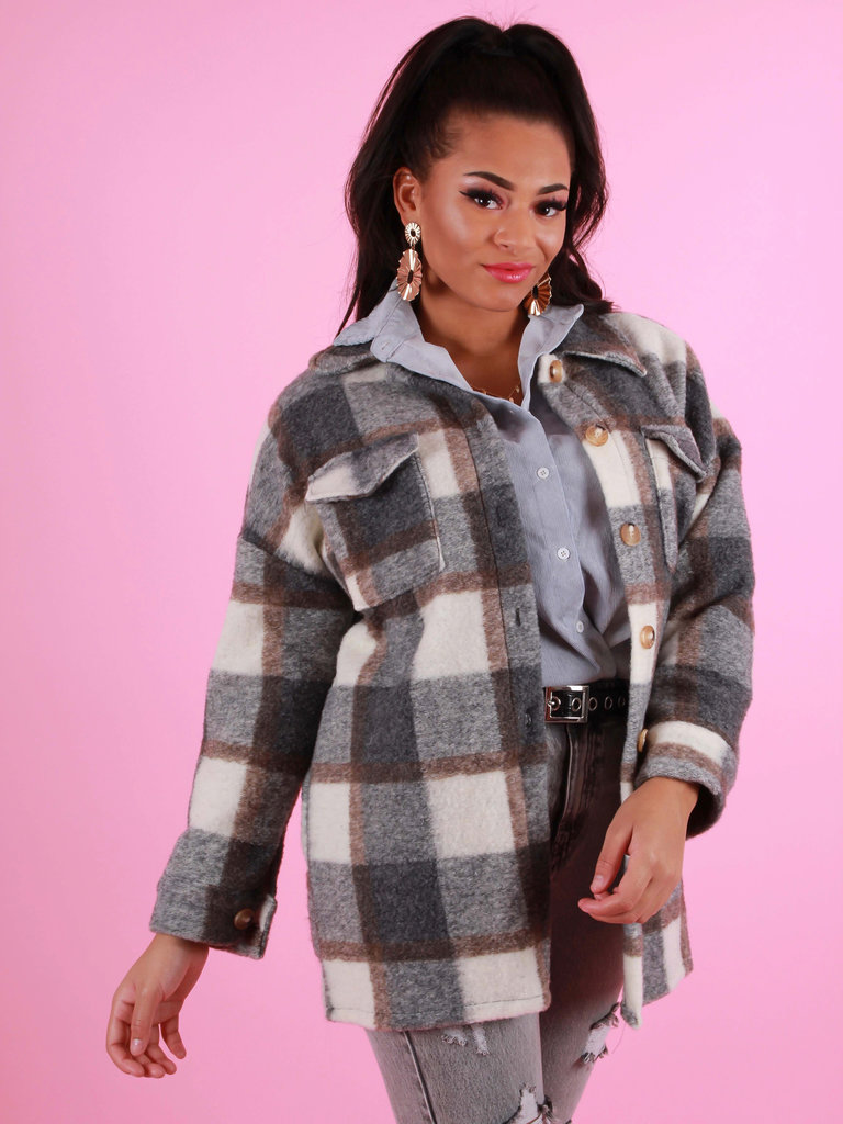 JUMELLE Checkered Jacket Grey/White