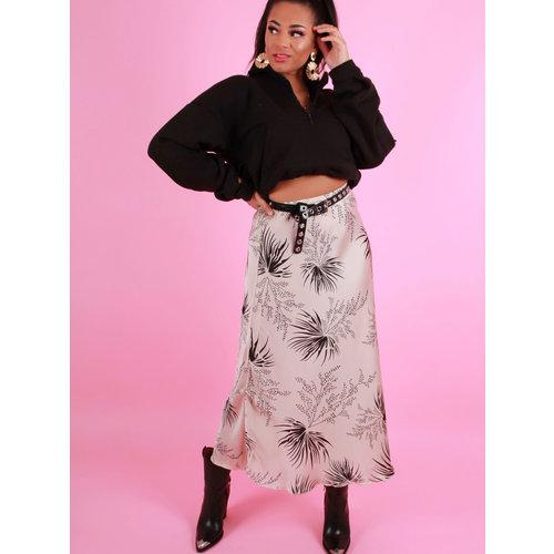 AMBIKA Satin Floral Print Maxi Skirt Beige