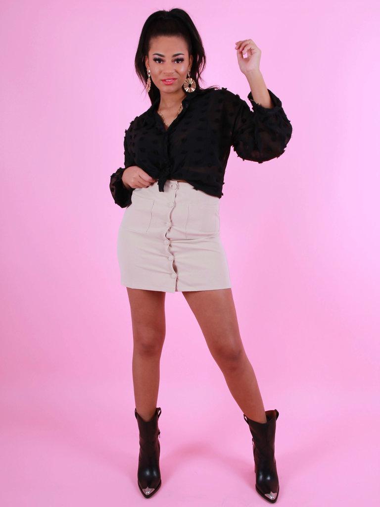 EIGHT PARIS Button Front Mini Skirt Beige