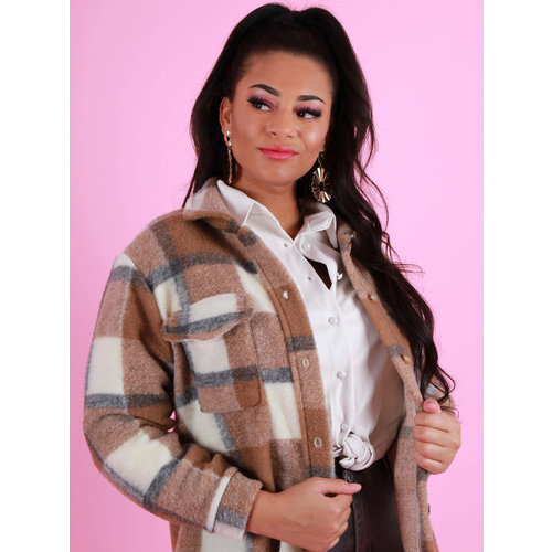LADYLIKE FASHION Checkered Jacket Camel
