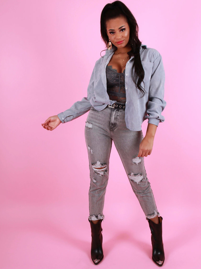 QUEEN HEARTS Straight Fit Destroyed Jeans Grey