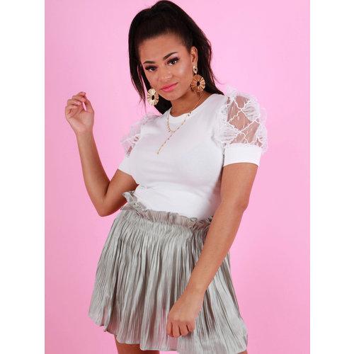 YU & ME Shiny Pleated Skirt Green