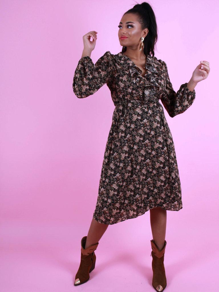 IVIVI Maxi Floral Print Dress Black