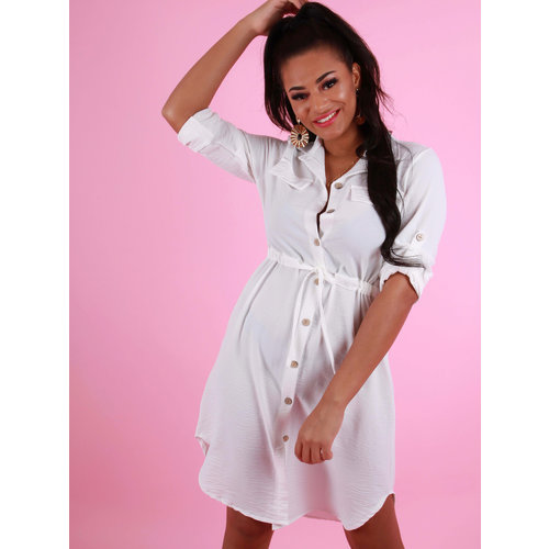 NEW COLLECTION Tie Waist Shirt Dress White