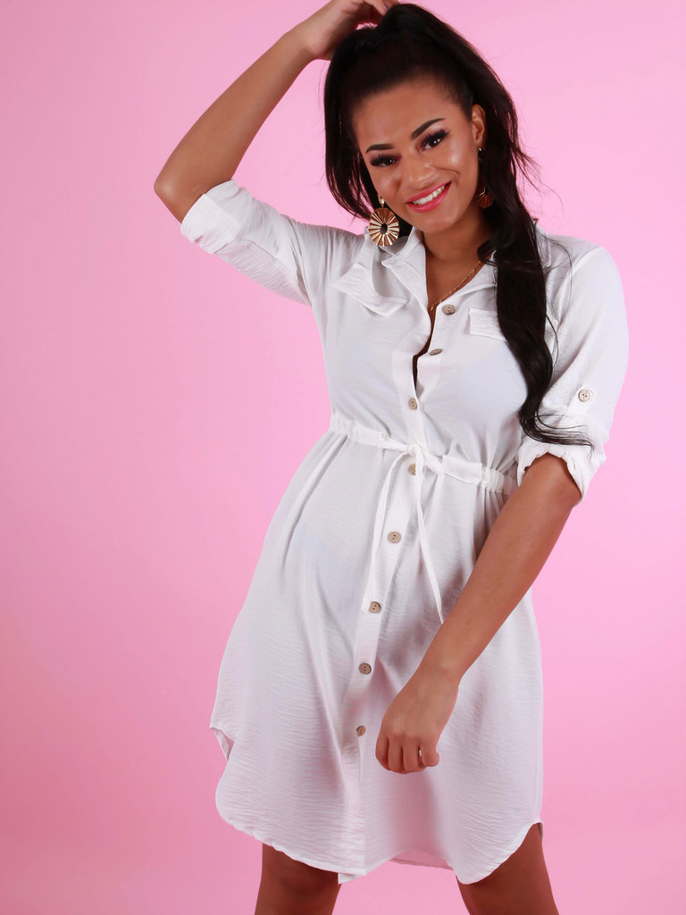 NEW COLLECTION Tie Waist Shirt Dress Wit