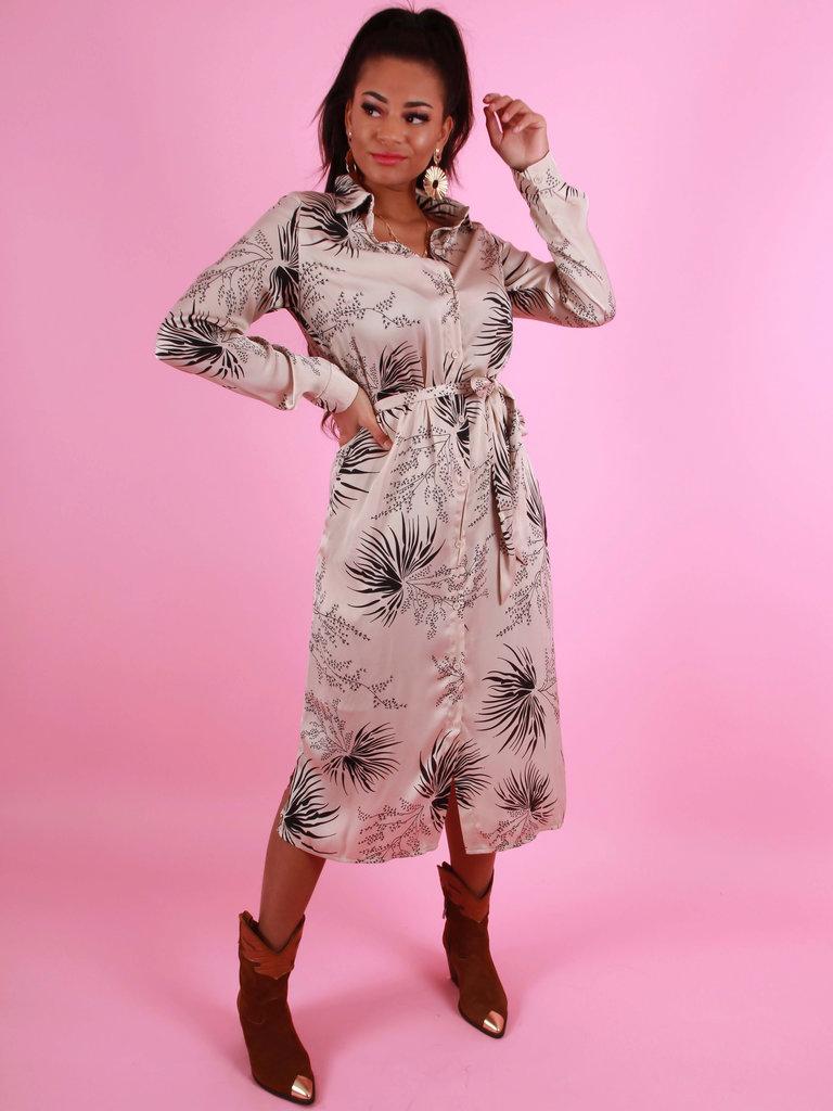 AMBIKA Satin Floral Print Maxi Dress Beige