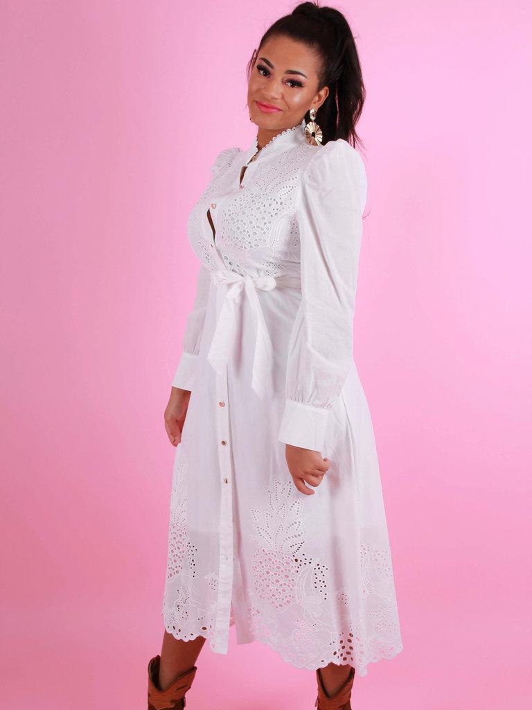DRŌLE DE  COPINE Broderie Maxi Dress White