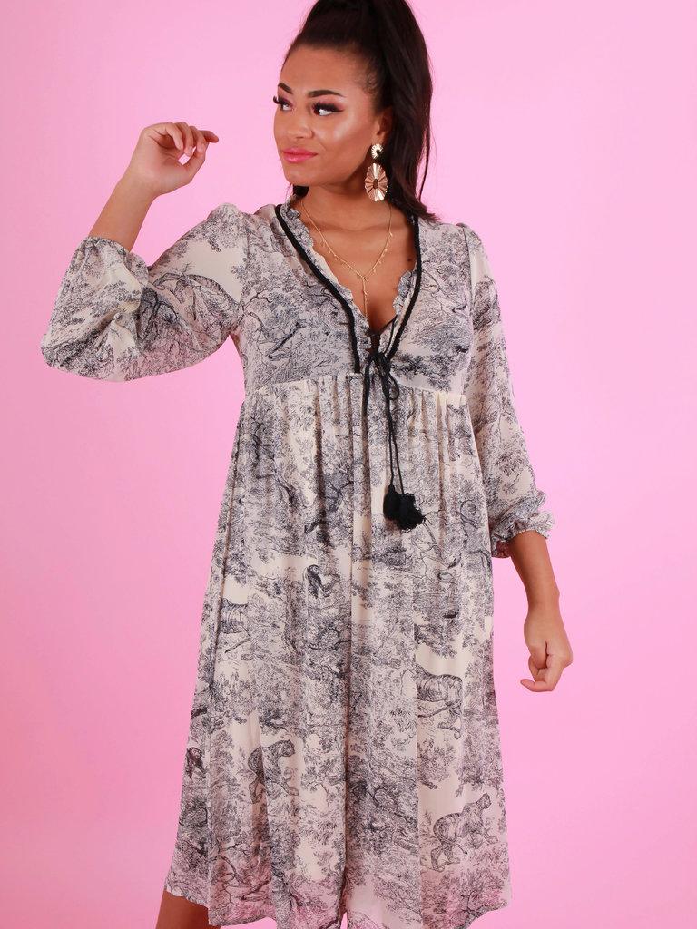 BISOU'S PROJECT Printed Midi Dress Ecru