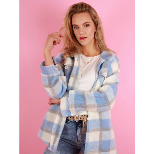 NEW COLLECTION Checkered Jacket Baby Blue