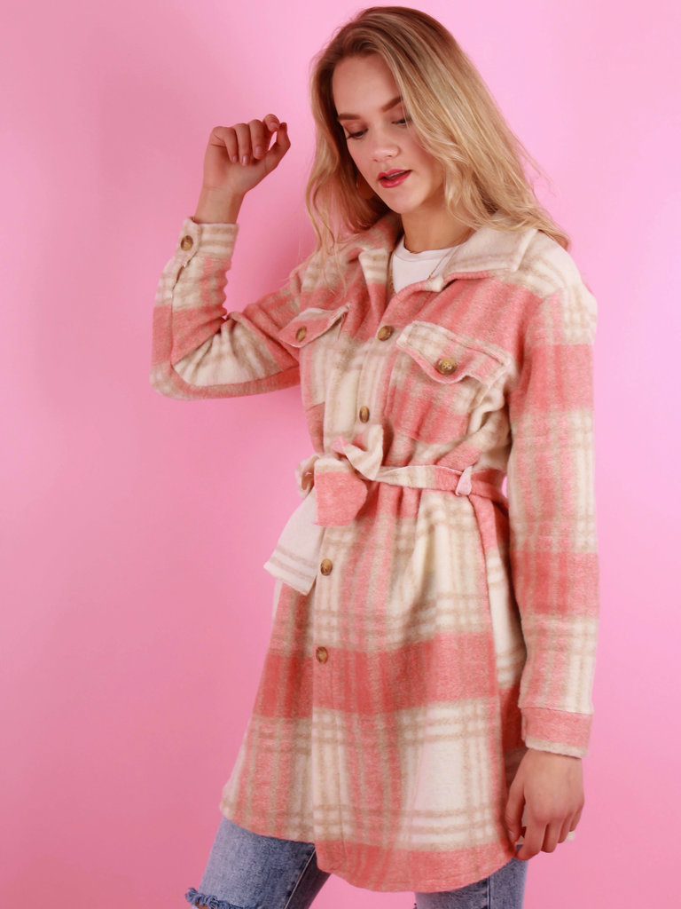 NEW COLLECTION Checkered Jacket With Belt Peach