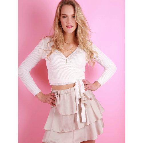 EIGHT PARIS Satin Ruffled Skirt Beige