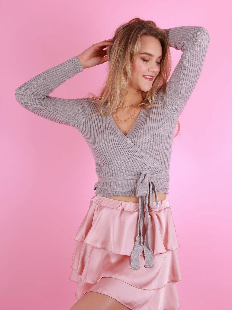 EIGHT PARIS Satin Ruffled Skirt Pink