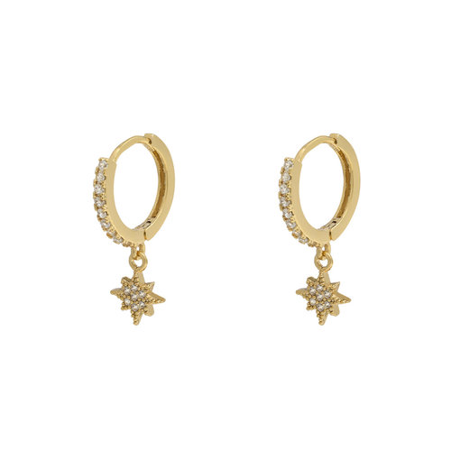 YEHWANG Earrings Zirconia Star Gold