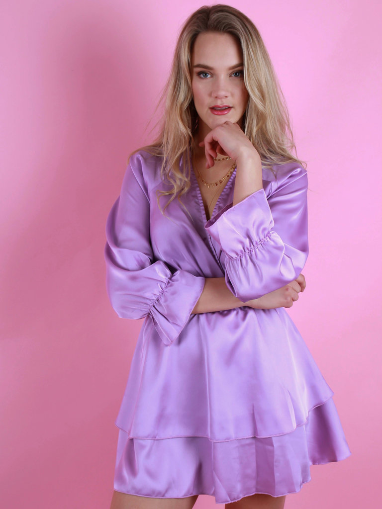 EIGHT PARIS Satin Blouse Dress Lilac