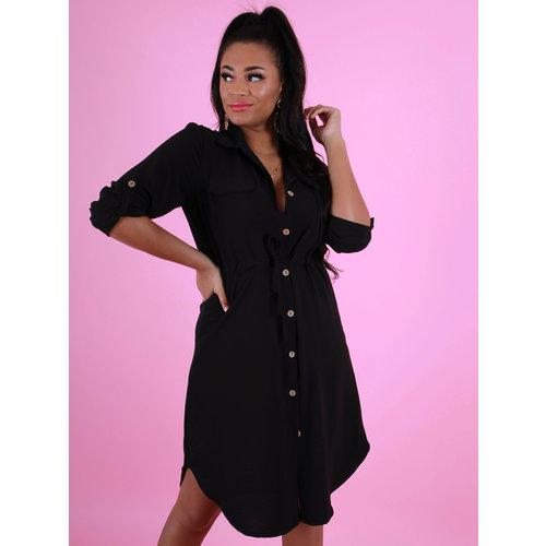 NEW COLLECTION Tie Waist Shirt Dress Black