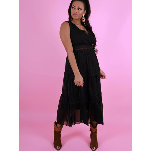 NOEMI KENT PARIS Lace Detailed Sleeveless Maxi Dress Black