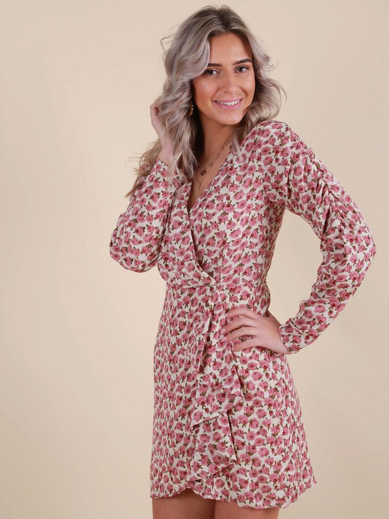 RETRO ICONE Rose Print Dress Beige