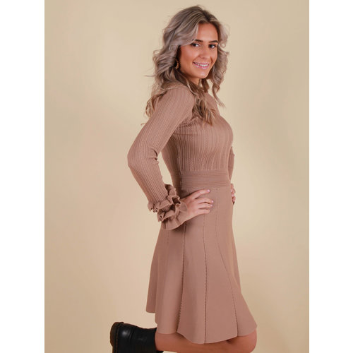 BY CLARA Knitted Skater Dress Brown Round Neck
