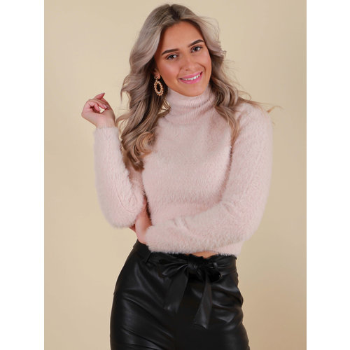 BISOU'S PROJECT Fluffy Crop Jumper Baby Pink