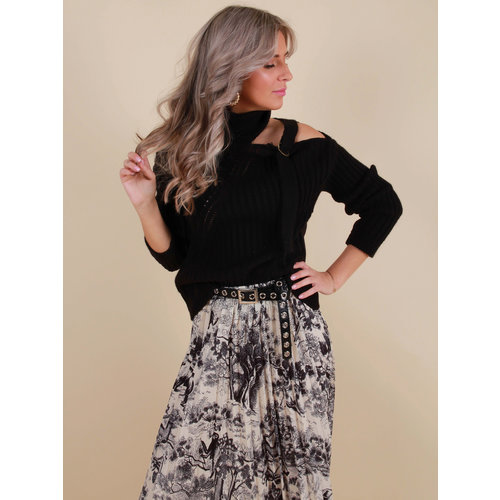 LADYLIKE FASHION Knitted Jumper Open Side Black