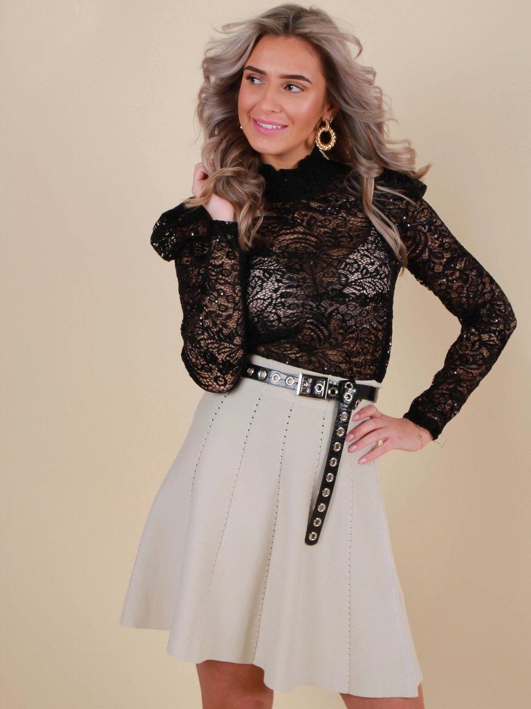 DRŌLE DE  COPINE Lace Top Long Sleeve Glitter Black