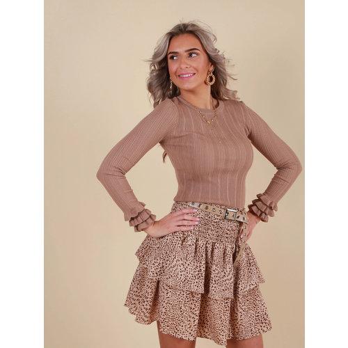RETRO ICONE Little Dot Print Skirt Beige
