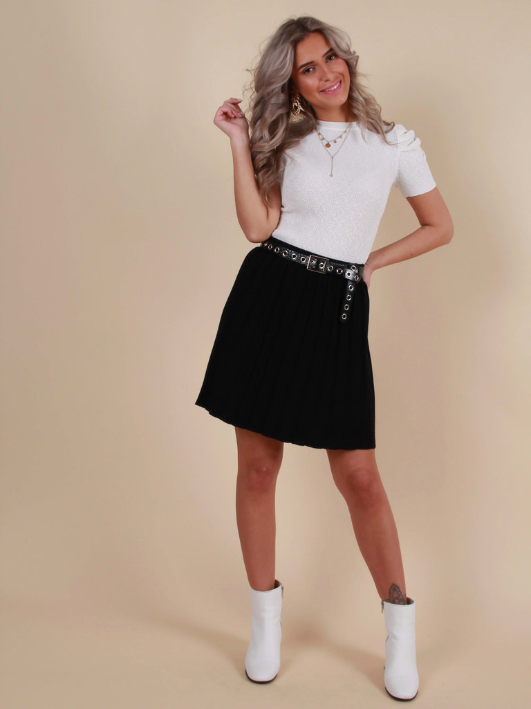 BY CLARA Knitted Striped Skirt Black