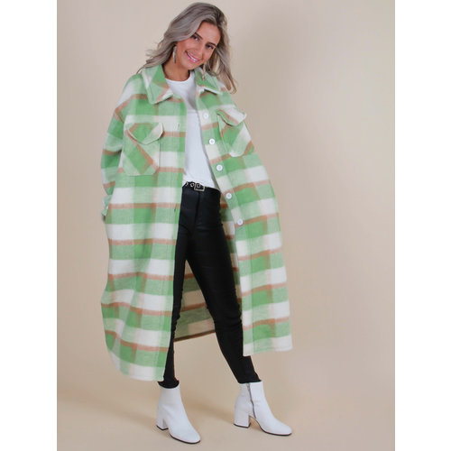 LIULI Long Checkered Jacket Green