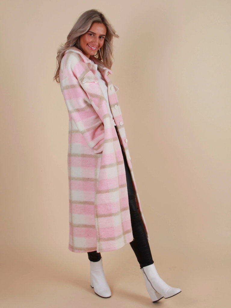 MYBEL Long Checkered Jacket Baby Pink