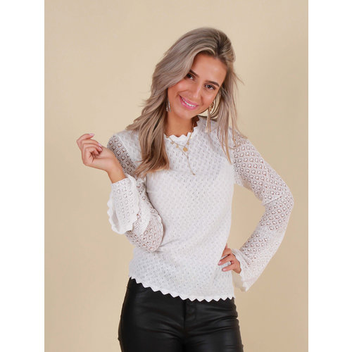 AMBIKA Lace Top Long Sleeve White