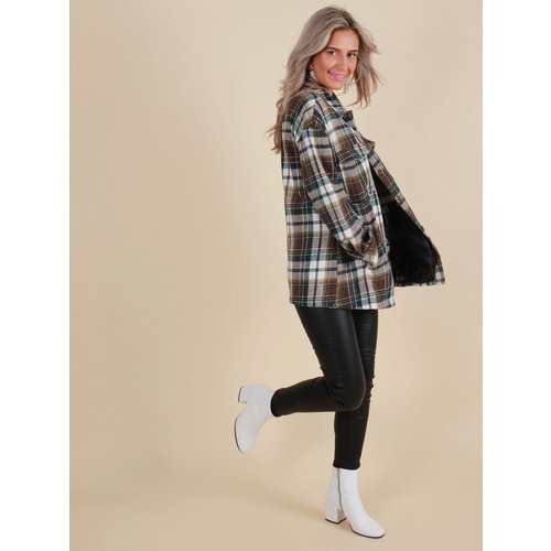 IN VOGUE Checkered Blouse/Jacket Brown