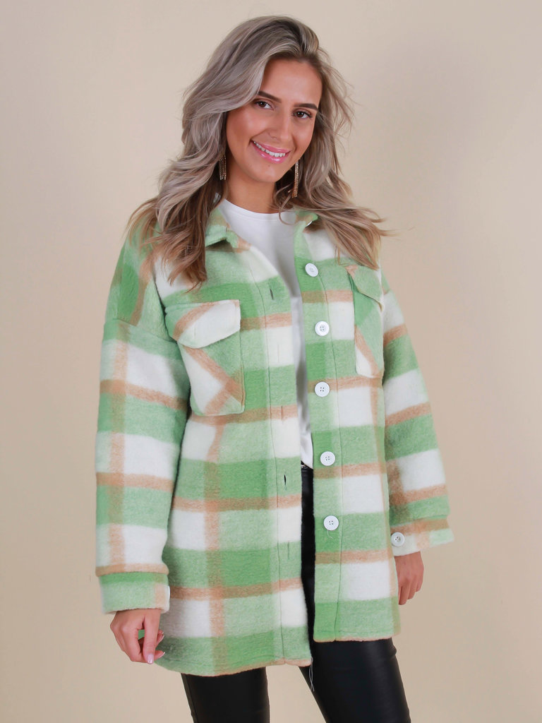 NEW COLLECTION Checkered Jacket Green