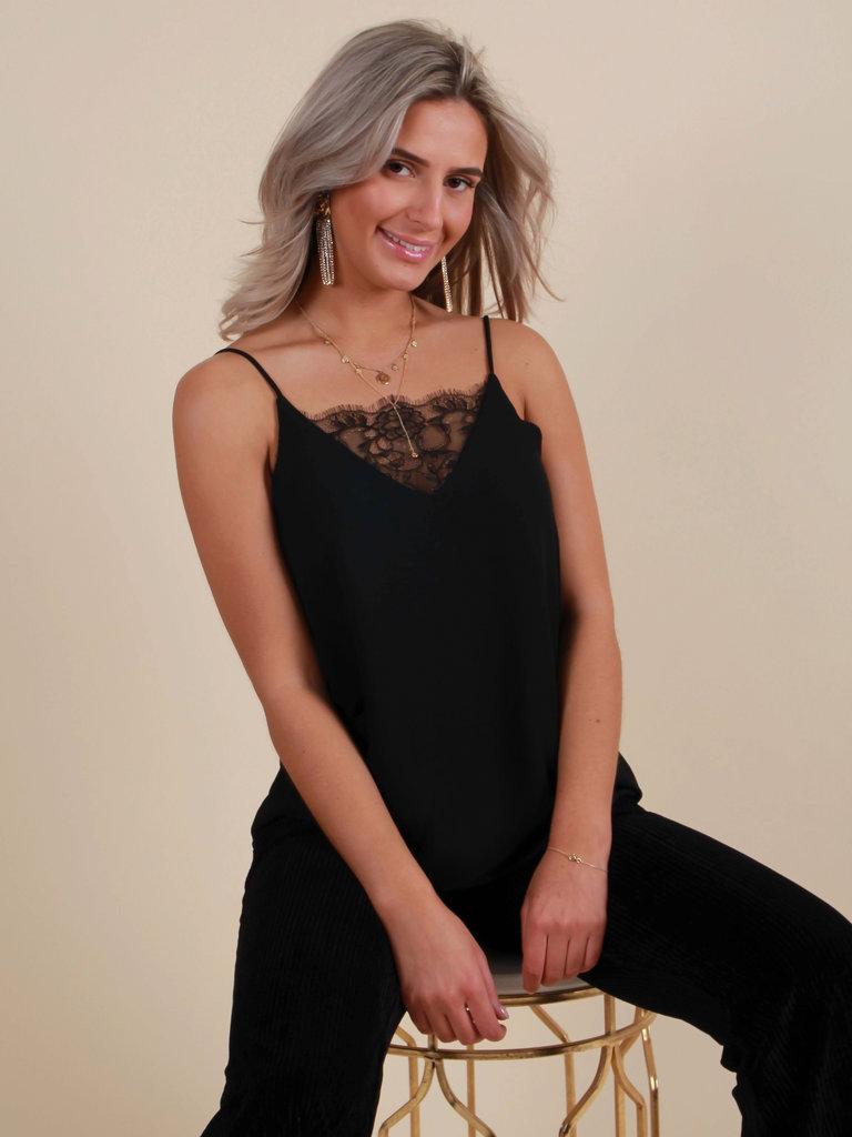 VINTAGE DRESSING Zwarte Eyelash Lace Top