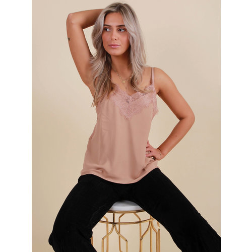 VERA & LUCY Cami Top With Lace Beige