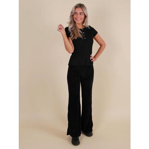 VINTAGE DRESSING Velvet Rib Flared Pants Zwart