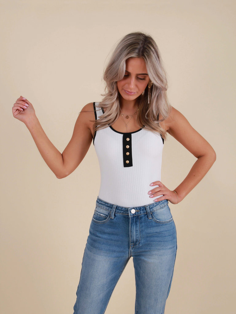 LADYLIKE FASHION Gold Button Bodysuit White