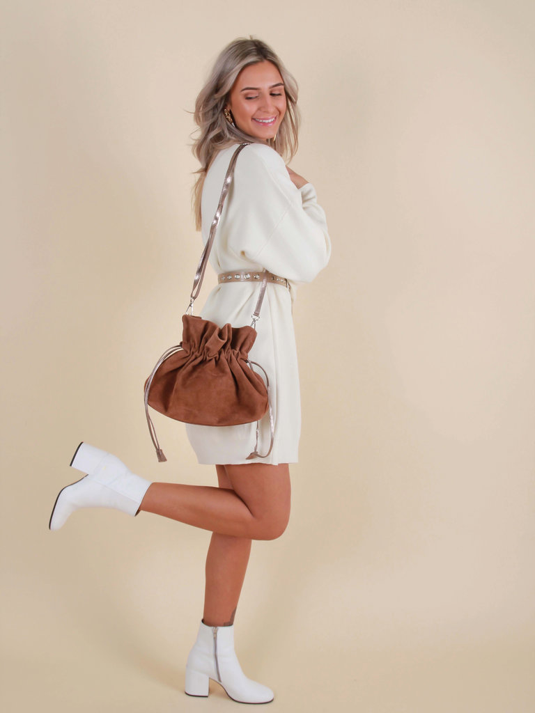 LADYLIKE FASHION Suede Leather Pouch Bag Brown