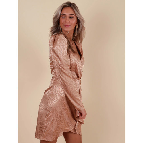 RETRO ICONE Wrap Dress Satin Leopard Taupe