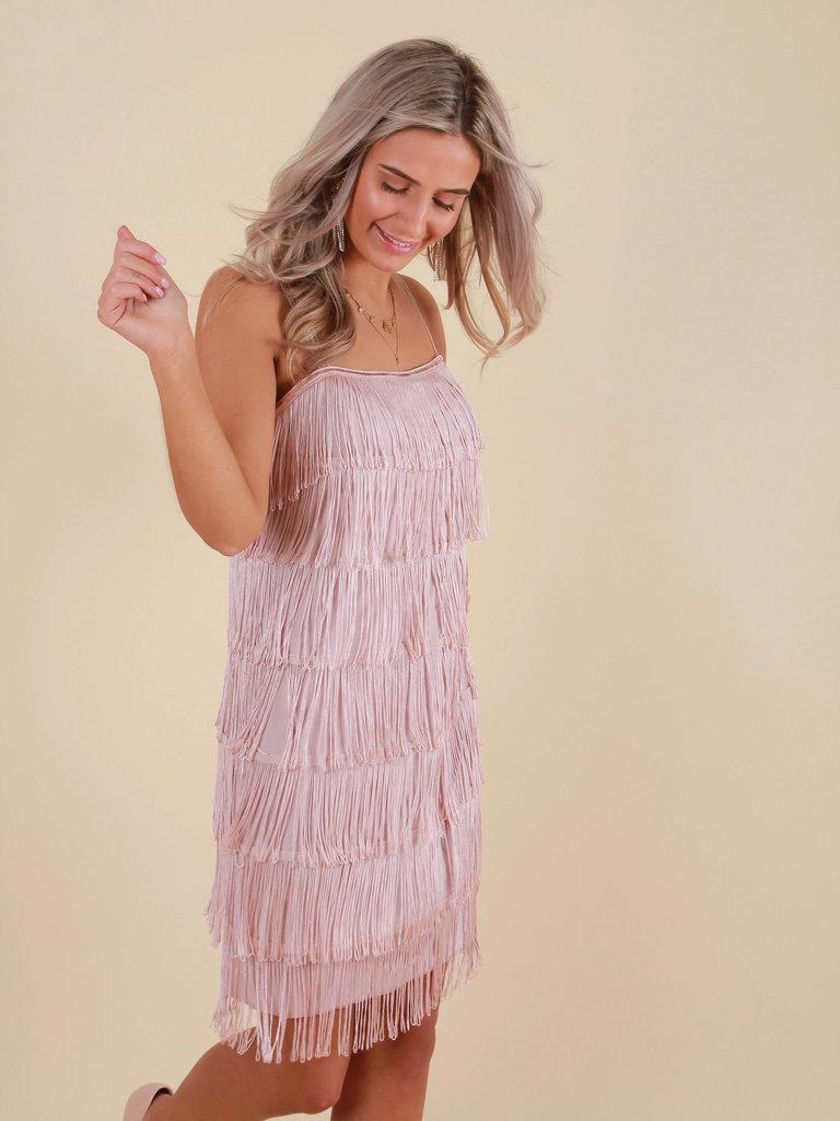 LADYLIKE FASHION Fringe Dress Nude