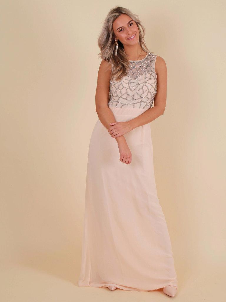 LADYLIKE FASHION Hand Embellished Cut Out Back Chiffon Maxi Dress