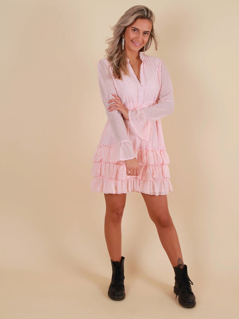 LOLIVE VENTE Dress Pink Gold accent